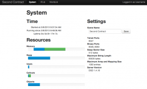 Screen shot of System dashboard